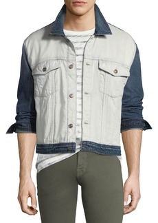 7 For All Mankind Men's Inside-Out Denim Trucker Jacket