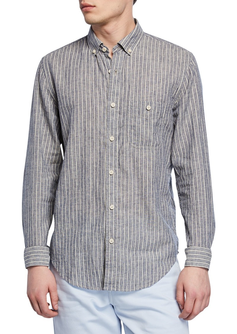 7 For All Mankind Men's New Icon Striped Button-Collar Linen/Wool Shirt