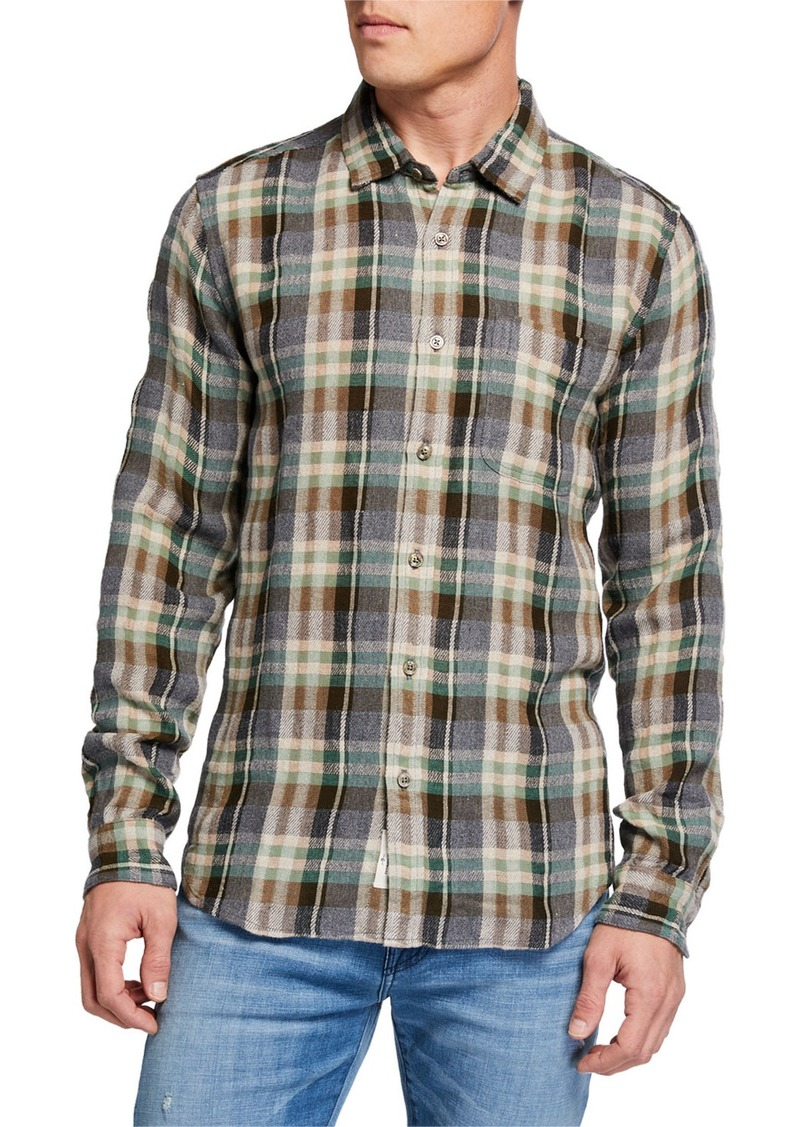 7 For All Mankind Men's Plaid Oxford Sport Shirt