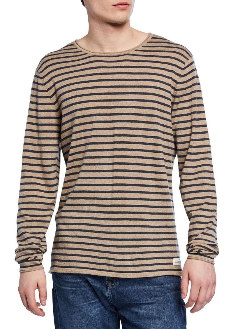 7 For All Mankind Men's Riviera Striped Crewneck Sweater