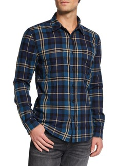 7 For All Mankind Men's Triple-Needle Plaid Worker Shirt