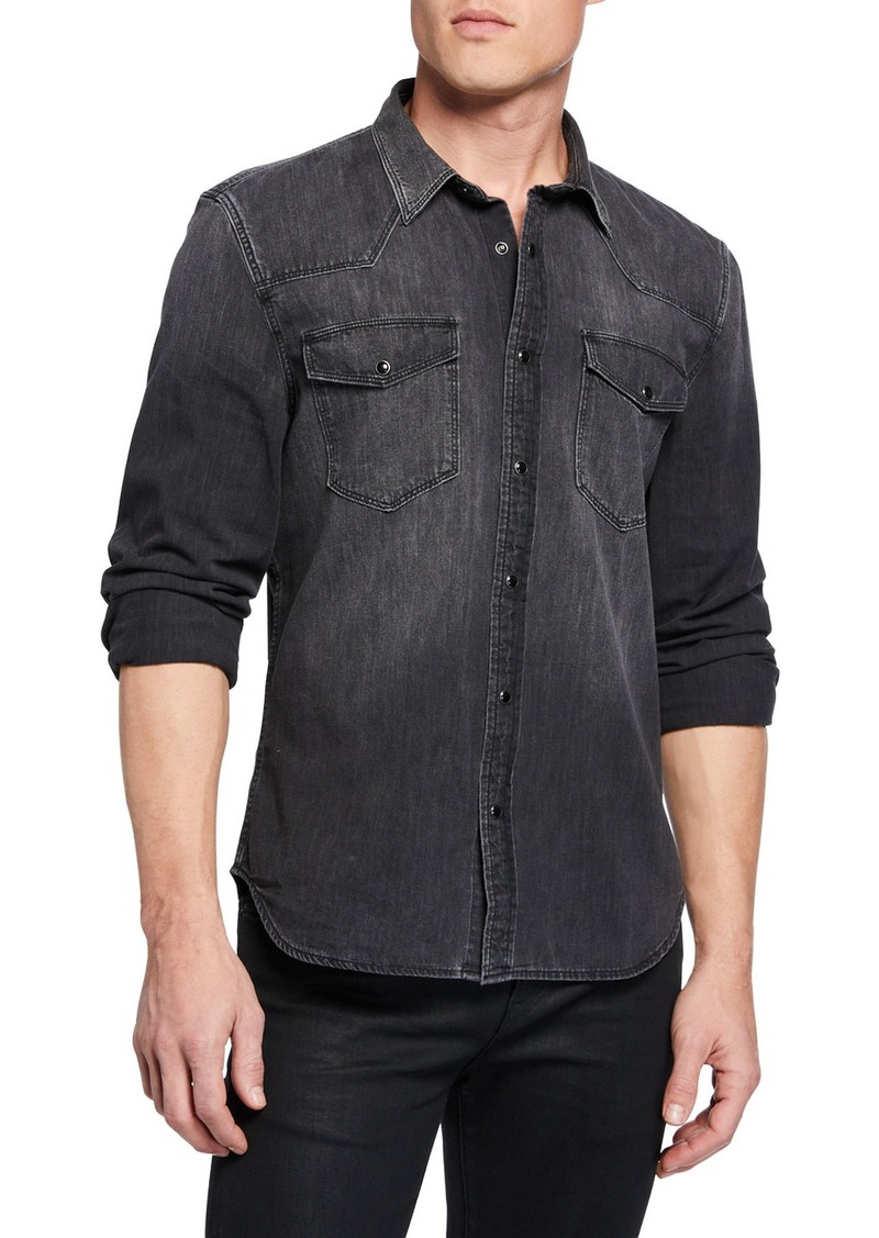 7 For All Mankind Men's Western Shirt in Greystone Black