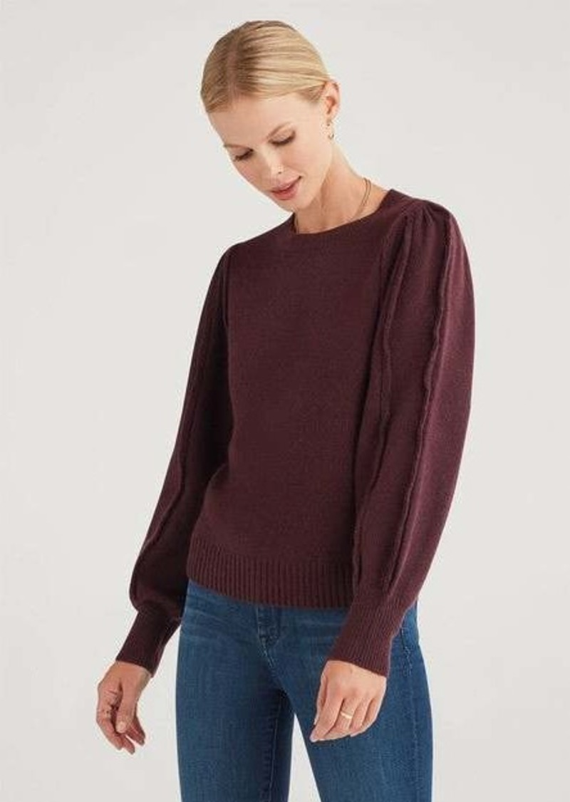 7 For All Mankind Merino Wool and Cashmere Fringe Sleeve Pullover in Bordeaux Wine