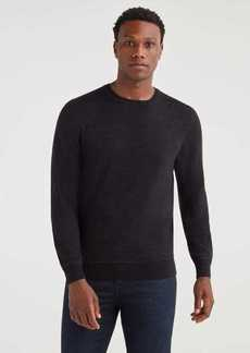 7 For All Mankind Merino Wool Long Sleeve Crewneck in Heather Black