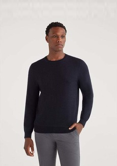 7 For All Mankind Merino Wool Long Sleeve Crewneck in Midnight Navy