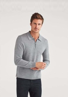7 For All Mankind Merino Wool Long Sleeve Half Zip Polo in Heather Grey