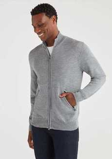 7 For All Mankind Merino Wool Zip Cardigan in Heather Grey