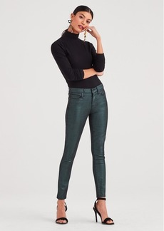 7 For All Mankind Metallic Twill Ankle Skinny in Emerald