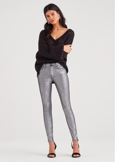 7 For All Mankind Metallic Twill Ankle Skinny in Silver