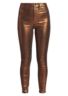 7 For All Mankind Metallic High-Waisted Ankle Skinny Jeans