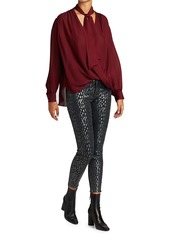 7 For All Mankind Metallic Leopard High-Rise Skinny Jeans