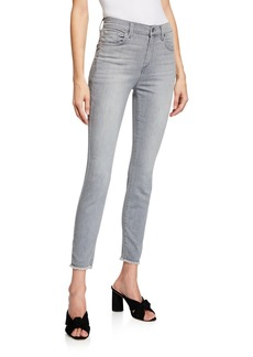 7 For All Mankind Mid-Rise Frayed-Hem Skinny Jeans  Gray