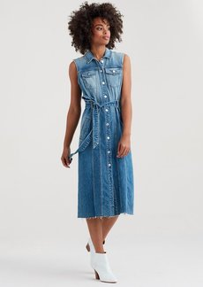 7 For All Mankind Midi Trucker Vest Dress in Desert Oasis