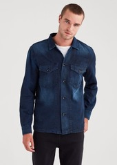 7 For All Mankind Military Shirt Jacket in Blueprint
