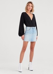 7 For All Mankind Mini A Line Moto Skirt in Vintage Dawn