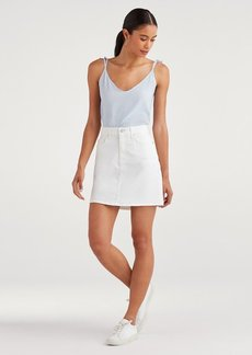 7 For All Mankind Mini Skirt in White Runway