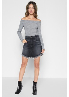 Mini Skirt with Scallop Raw Hem in Vintage Bedford Black
