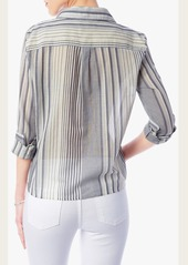 7 For All Mankind Ministripe tie Front Shirt in Navy Ivory Stripe