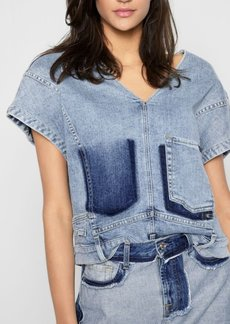 7 For All Mankind Misplaced Jean Top in Patchwork Found