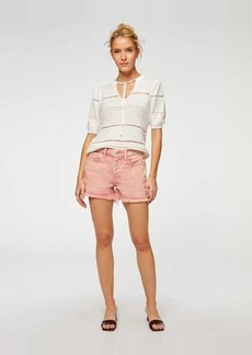 7 For All Mankind Monroe Cut-Off Short in Mineral Rose
