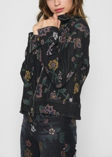 7 For All Mankind Moto Jacket with Studs in Print on Noir