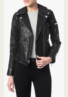 7 For All Mankind Moto Leather Jacket in Black