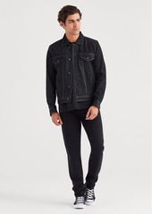 7 For All Mankind Nubuck Suede Trucker Jacket in Black