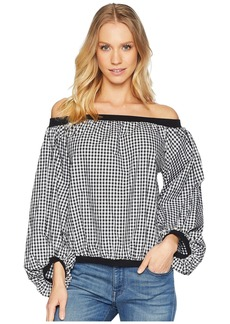 7 For All Mankind Off Shoulder Blouson Sleeve Top