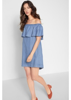 Off Shoulder Denim Dress in Isla Blue