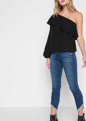 7 For All Mankind Off Shoulder One Sleeve Top in Black