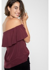 2e200dcc534 7 For All Mankind Off Shoulder Ruffle Top in Burgundy | Casual Shirts