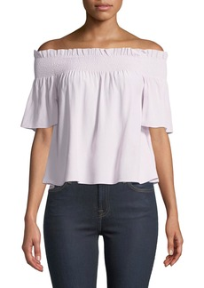 7 For All Mankind Off-Shoulder Smocked Silk Blouse