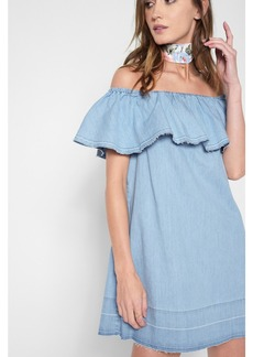 Off the Shoulder Denim Dress in Cool Wave Blue