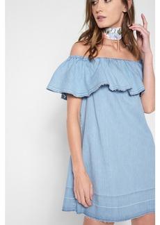 Off the Shoulder Denim Dress in Cool Wave Blue