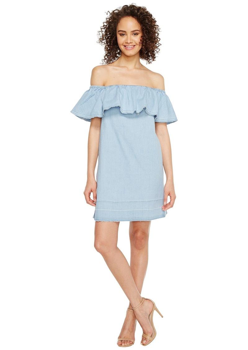 7 For All Mankind Off the Shoulder Denim Dress w/ Released Hem in Cool Wave Blue