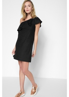 7 For All Mankind One Shoulder Ruffle Dress in Black