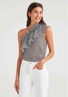 7 For All Mankind One Shoulder Ruffle Top in Black and White
