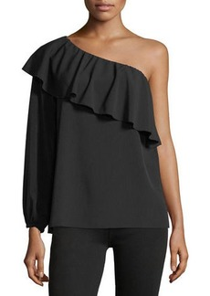 7 For All Mankind One-Shoulder Ruffled Top