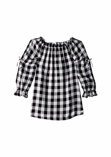 7 For All Mankind Open Sleeve Challis Gingham Top (Big Kids)