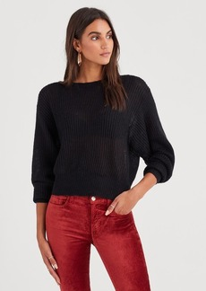 7 For All Mankind Open Weave Sweater in Jet Black