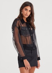 7 For All Mankind Organza Bubble Jacket in Stark Black