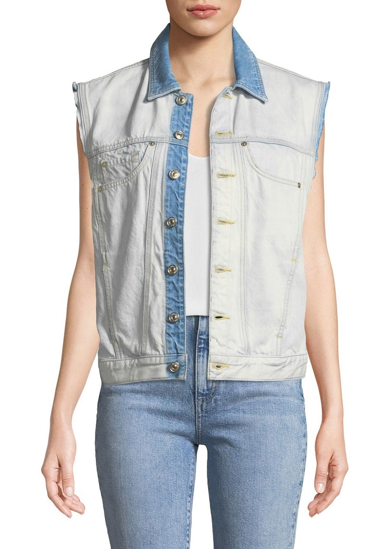 7 For All Mankind Oversize Button-Front Denim Vest