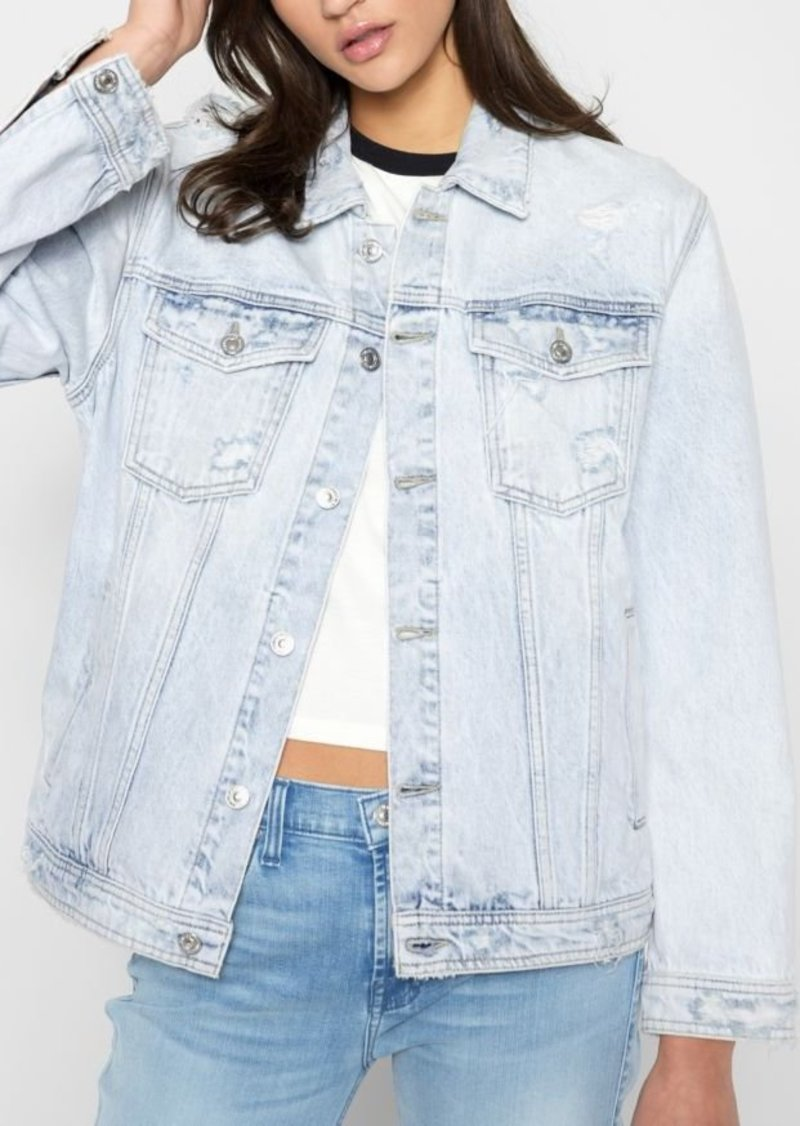 7 For All Mankind Oversized Boyfriend Jacket with Destroy in Desert Sun Bleached