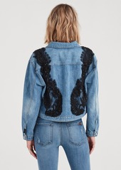 7 For All Mankind Oversized Cropped Boyfriend Jacket with Black Ornate Rhinestones and Destroy in Satellite Sky