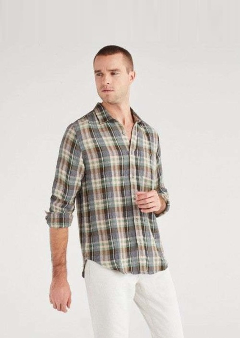 7 For All Mankind Oxford Pocket Long Sleeve Shirt in Green Plaid