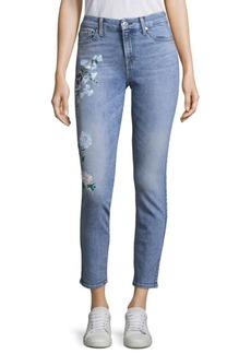 Painted Floral Denim Jeans