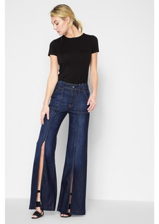 Palazzo Pant with Front Seam Split in Deep Blue