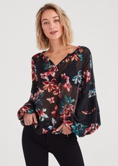 7 For All Mankind Panel Sleeve Blouson Top in Moonlight Orchid