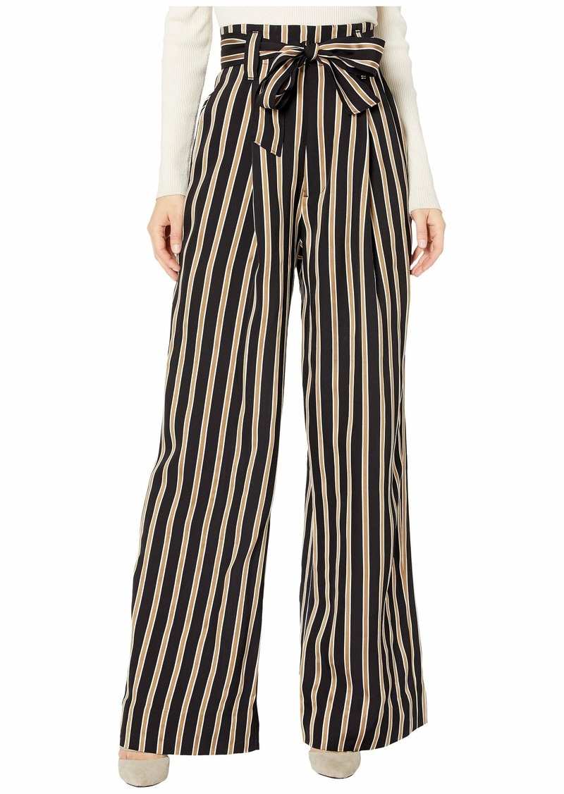 7 For All Mankind Paperbag Wide Leg in Midnight Navy/Gold/White Stripe