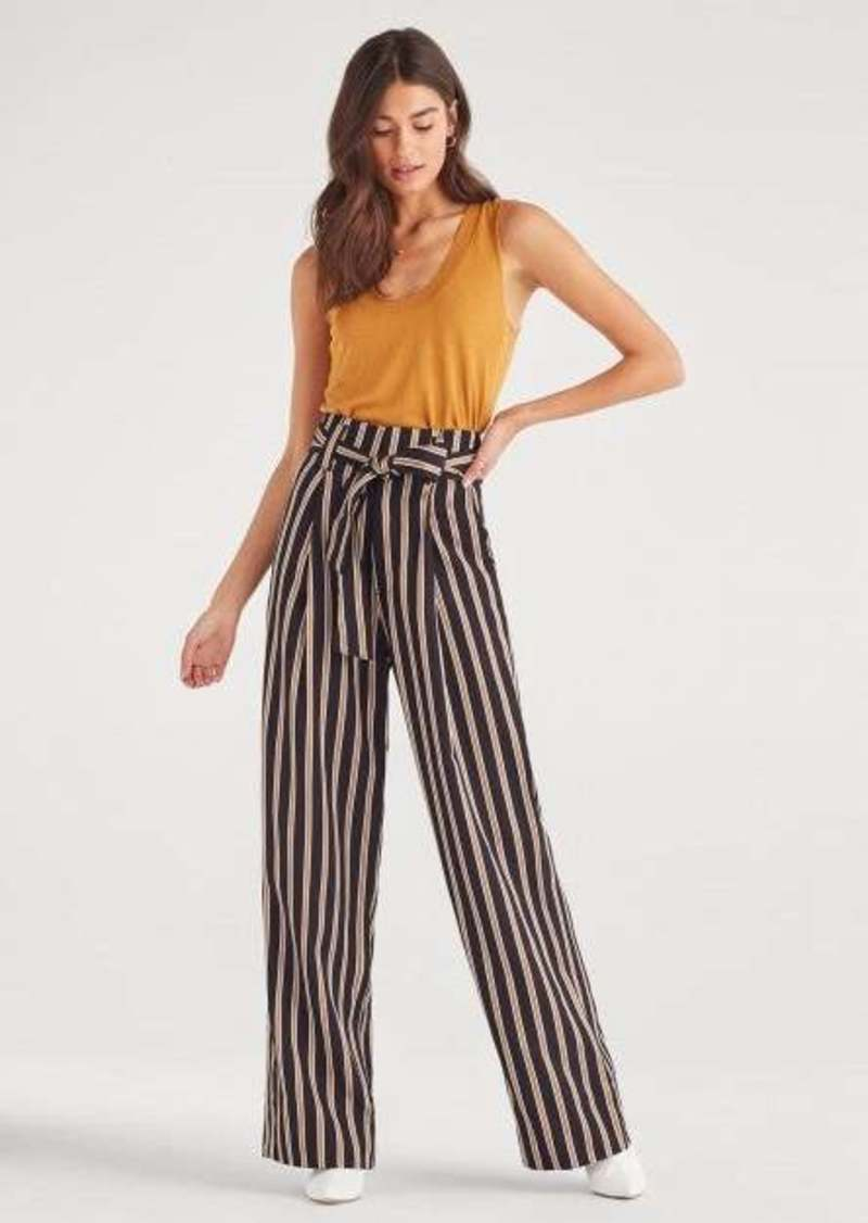 7 For All Mankind Paperbag Wide Leg Pants in Navy Gold Stripe